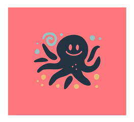 Vector flat cute funny hand drawn octopus animal silhouette isolated on white background.  Perfect for children goods store logo insignia, kid clothes and accessory prints, zoo logotype etc.
