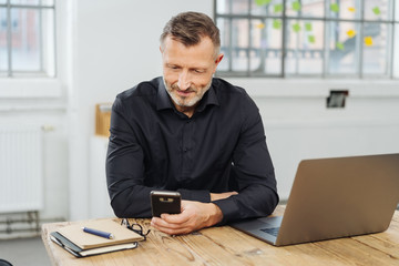 Businessman sitting checking his mobile phone