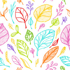 Seamless pattern from Hand draw structure of  leaves colorful on white in line art for design flyer banner or for decoration package of  tea or cosmetic or  perfume or for design of botanical theme