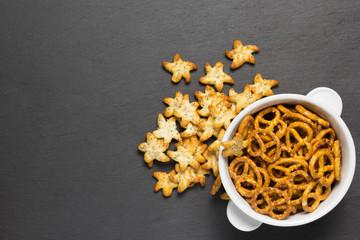 salty mini pretzels in white bowl