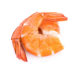 Cooked shrimps isolated on white background