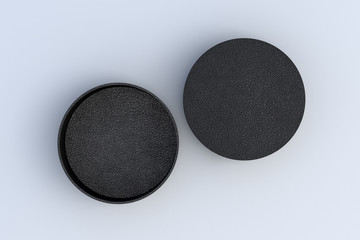 Two round boxes opened and closed