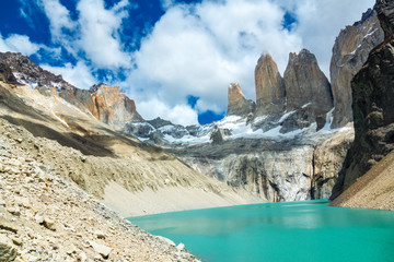 Beautiful mountain lake in national park Torres del Paine, landscape of Patagonia, Chile, South America