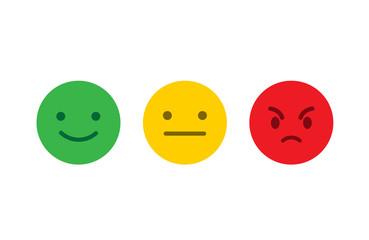 Feedback emoji flat style. Feedback emoticon icon. Vector stock.