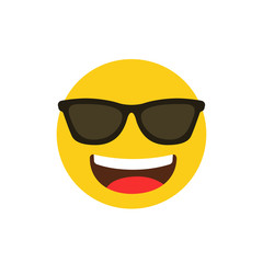 Happy emoji with glasses. Social emoji. Abstract funny flat style emoji. Vector stock.