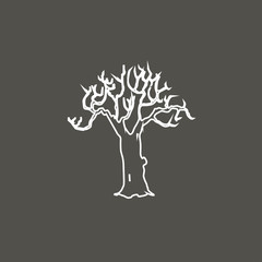 bare tree silhouette vector symbol line icon design. Beautiful illustration isolated on white background