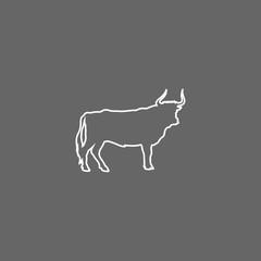 Isolated bull animal design. line icon