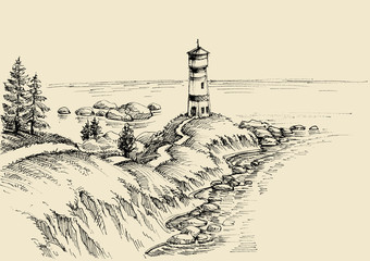 Beach drawing, a path to the lighthouse and beautiful sea view