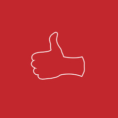 thumbs up like emoji for social media channels and websites vector. line icon