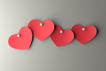 Hearts paper on the wall. 3D rendering.