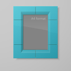 Realistic rectangular blue blank picture frame A4 sizes. Foto frame with shiny glass