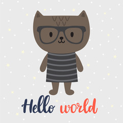 Hello world. Cute little cat. Greeting card or postcard. Beautiful background for kids. Baby shower