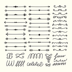 Lines, borders and dividers. Hand drawn calligraphic design elements. Set of decorative symbols in doodle style