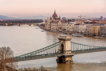 Chain Bridge between Buda and Pest on the river Danube, Hungary