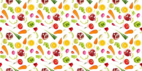 Fototapete - Food texture. Seamless pattern of various fresh vegetables and fruits isolated on white background, top view, flat lay.