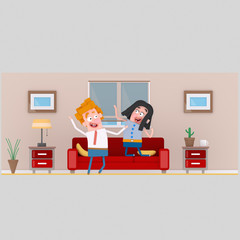 Couple in living room. Isolate. Easy background remove. Easy color change. Easy combine! For custom illustration contact me.
