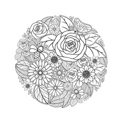 Tropical flower drawing black and white design isolated on white background, vector illustration
