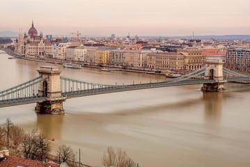 Chain Bridge between Buda and Pest on the river Danube, Hungary