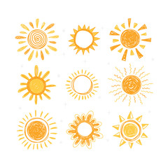 Set of hand drawn sun symbols. Collection of doodle sun icons