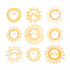 Set of hand drawn sun symbols. Collection of smiling sun characters. Doodle