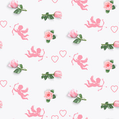 seamless pattern with rosebud and cupids