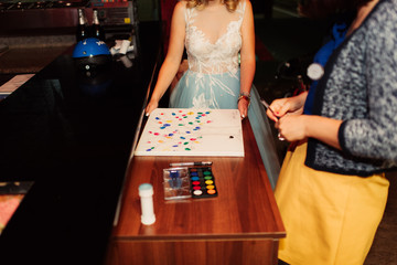 Bride playing a game