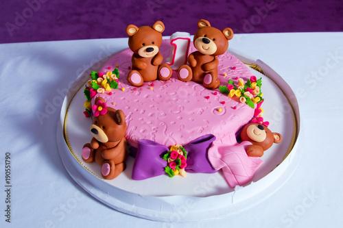 Pink Bear Bears Cake 1 Year Old Birthday Big Beautiful Kids