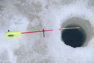 Fishing rod for winter fishing, hole in ice