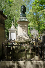 The grave of Honore de Balzac at Pere Lachaise cemetery in Paris