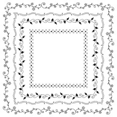 Decorative square frames borders design set 4 vector