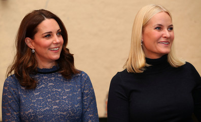 Britain's Catherine, the Duchess of Cambridge and Crown Princess Mette-Marit of Norway, visit 'MESH', a work-space for start-up tech companies in Oslo