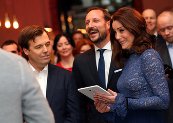 Britain's Catherine, the Duchess of Cambridge, visits 'MESH', a work-space for start-up tech companies in Oslo