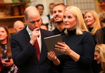 Britain's Prince William and Crown Princess Mette-Marit of Norway, visit 'MESH', a work-space for start-up tech companies in Oslo