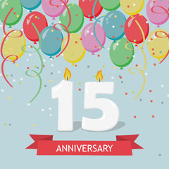 Fifteen years anniversary greeting card with candles, confetti and balloons.