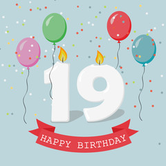 Nineteen years anniversary greeting card with candles, confetti and balloons.