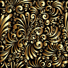 Floral gold 3d seamless pattern. Vector background with doodle hand drawn golden intricate flowers, swirl curve laves, dots, line art tracery ornaments. Surface design for fabric, wallpaper, prints
