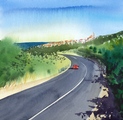 Summer. South. Mediterranean town. Houses with tiled roofs. The road along the sea. Red car on the road