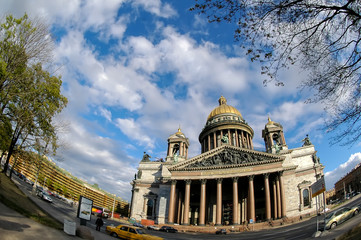 Isaakievsky cathedral in Saint-Petersburg. Russia. Russian text: My God by Force your Vozveselitsya Tsar