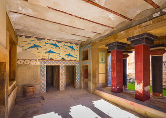 Wall Mural - Copies of fresco in a hall at the palace of Knossos, famous ancient city in Crete, located near modern Heraklion city