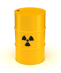 Yellow Radioactive Waste Barrel