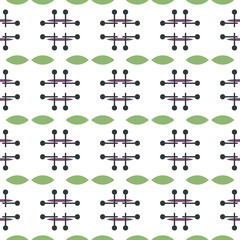 Seamless geometric pattern with lines and roundels, polka dot. Fabric print. Seamless background
