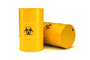 Yellow Biohazard Waste Barrels