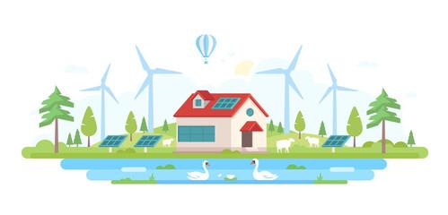 Eco-friendly farm - modern flat design style vector illustration