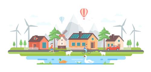 Eco-friendly village - modern flat design style vector illustration