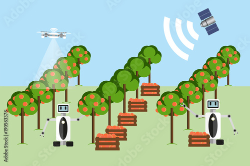 Wall mural Internet of things in agriculture. Smart farm with wireless control. Vector illustration.