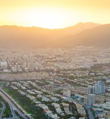 Fototapete - Tehran skyline at sunset, Iran