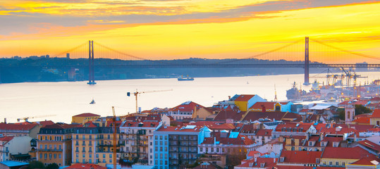 Fototapete - Lisbon panorama at sunset, Portugal