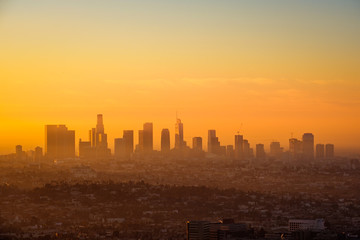 Los Angeles skyline viewed from Griffith observatory at sunrise