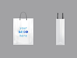3d vector realistic white shopping bag with black handles, plastic packet with blank space for advertising, front and side view, illustration isolated on background. Ready mockup for your brand design