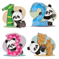 Set of cute baby panda bears with numbers vector cartoon illustration. Clipart for greeting card for kids birthday, invitation for invite, template, t-shirt print. Fun math, counting, numerals 1,2,3,4